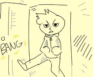 guy kicking down door