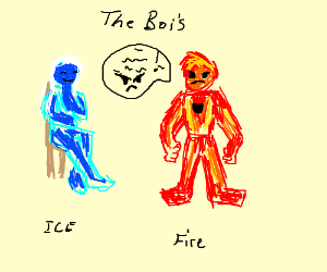 ice man hanging out with angry lava boi