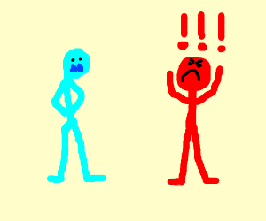 red man is angry at a blue man