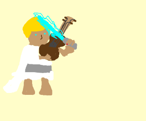 Luke playing the fiddle with a lightsaber