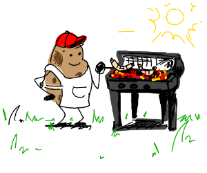A potatoe is grilling sauseges