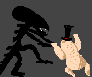 Alien VS Uncooked Chicken (with a top hat)