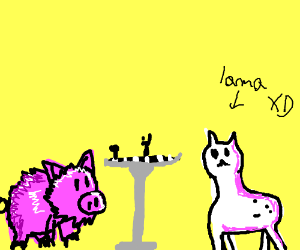furry pig and hairless lama playing chess