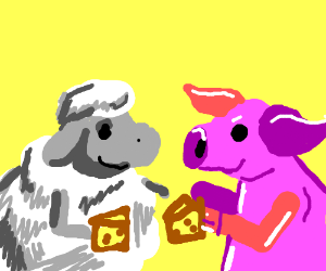 Sheep playing Chess with Pig
