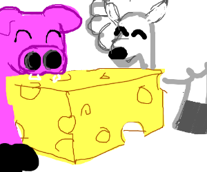 sheep and pig eat chesse