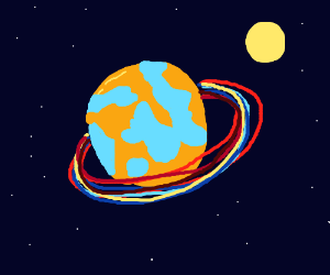 Planet With Beautiful Rings