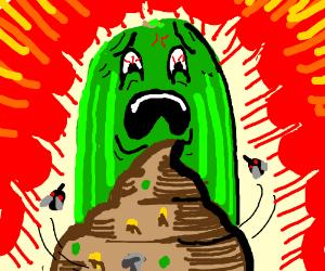 Cucumber disgusted by poop