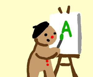gingerbread man paints letter A