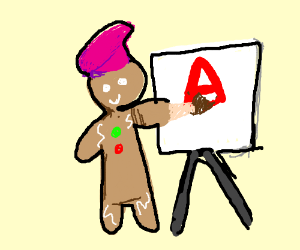 Gingerbread man with beret paints A on easel