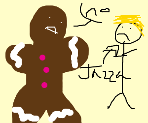 A gingerbread saying no to a blond boy