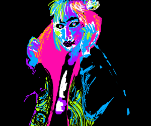 neon paint-splatter portrait of a woman