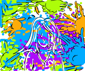 neon paint-splatter portrait of a woman