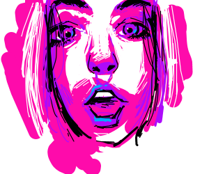 Girl blending in Neon Background