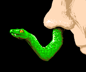 Snake coming out of nose