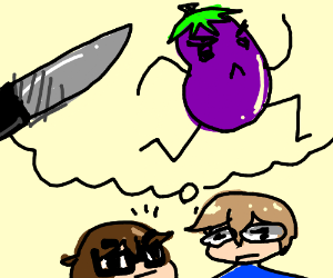 Eggplant runs away from knife