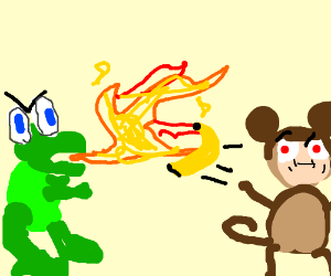 Some dinosaur fighting a big monkey