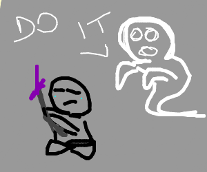 ghost helping someone commit seppuku drawing by deveria