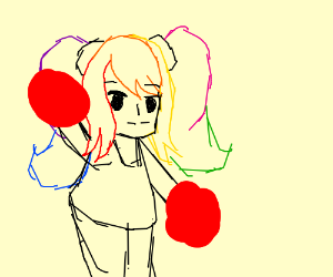 rainbow hair cheerleader girl
