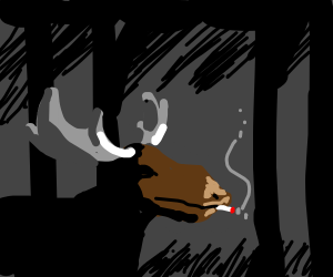 moose smoking in a dark forest