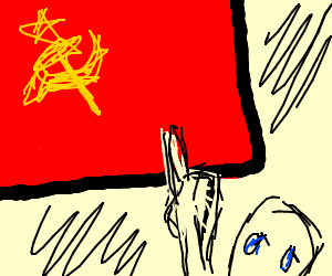 Dude pointing at the Soviet Russia flag