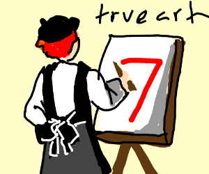 Red haired person painting the number 7