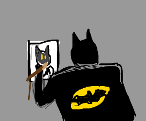 batman with blond hair painting cat lady.....?