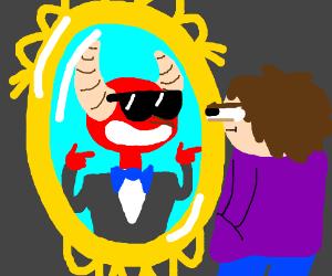 Man sees Satan in the mirror