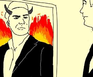 Man looks in mirror, sees demon