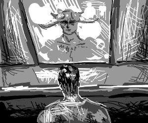 Man looks at mirror. He observes a devil.