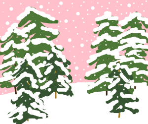 Trees in a snow-covered landscape