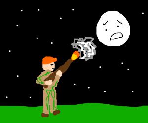 Guy shoots worried moon