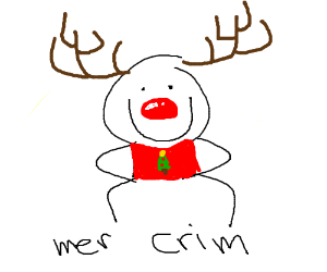 a person with a rudolph nose and antlers.