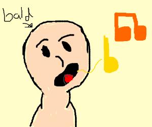bald man singing