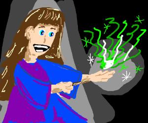 Wizard produces magic & creativefumes frm hand