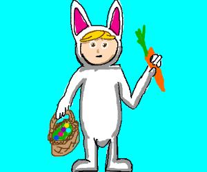 blonde guy in bunny suit