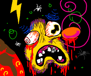 Yellmo is scared because he is on acid