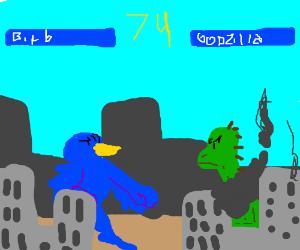 Birb vs Godzilla mortal kombat style