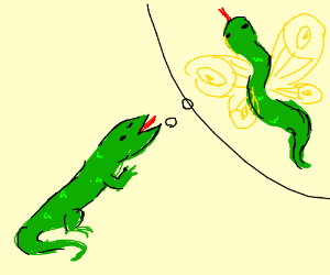 Lizard wishes to be a snake w/ butterfly wings
