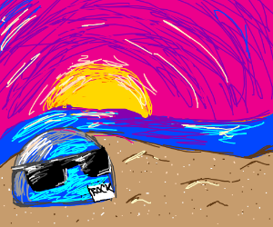 blue rock chilling at the beach w sunglasses