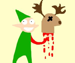 elf brutally murdering a reindeer