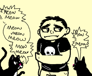 two black cats scolding a bully