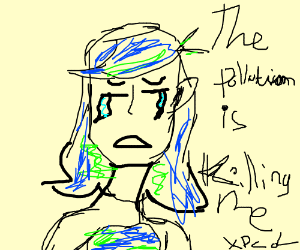 Earth chan is bleeding because of pollution