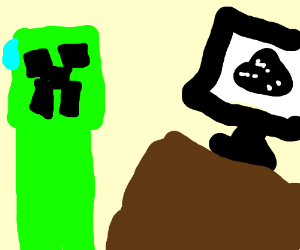 A creeper looking at a silhouette of gunpowder