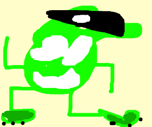 green guy with skull hat has arms exposed