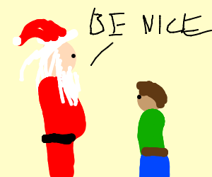 Santa tells child to be nice