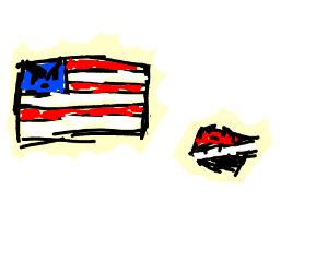 big  flag pissed at little flag