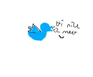 "Twitter bird says ""Hi nice 2 meet u"""