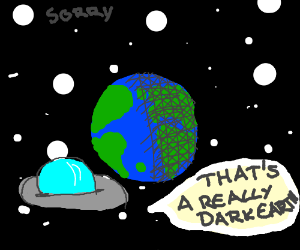 a dark Earth in space