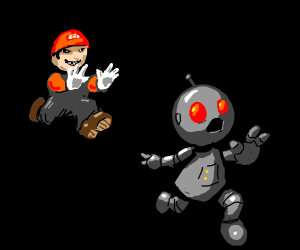 Man in a Mario-ish outfit chases robot.
