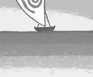 Moana's boat on the sea, all drawn in grey